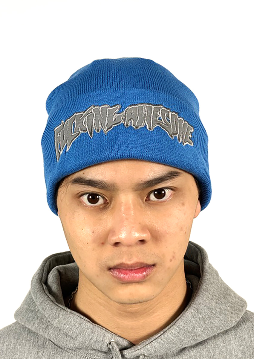 FUCKING AWESOME CHROME BEANIE REFLECTIVE SCRIPT BLUE ONESIZE