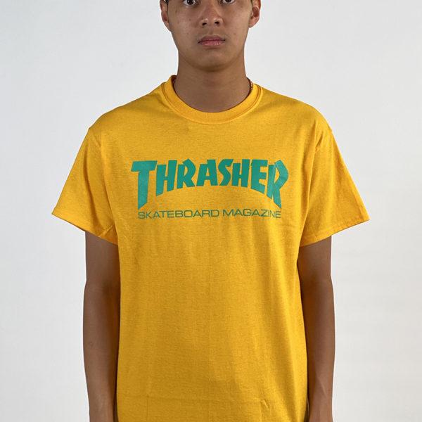 DEAR GEORGE THRASHER SKATE MAG TSHIRT - GOLD