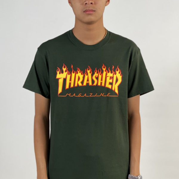 DEAR GEORGE THRASHER FLAME TSHIRT - FOREST GREEN