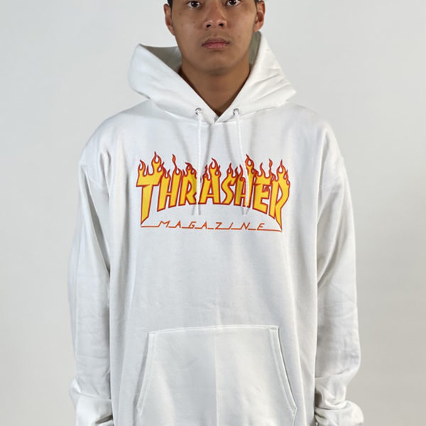 DEAR GEORGE THRASHER FLAME HOOD - WHITE