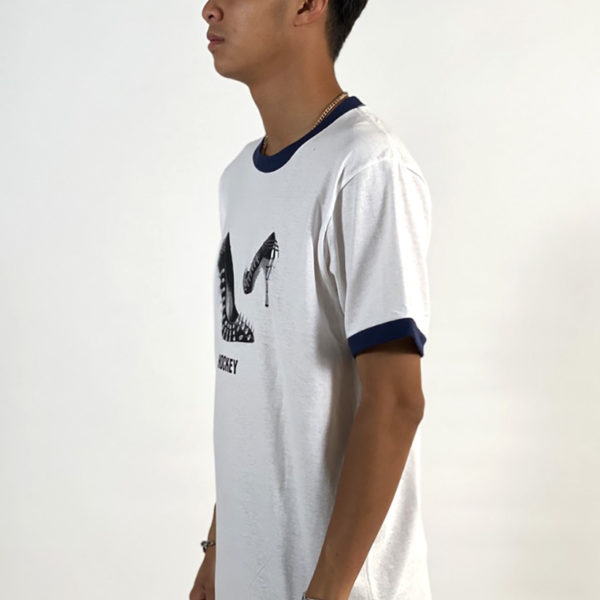 DEAR GEORGE HOCKEY SPIKED HEEL RINGER TEE WHITE NAVY